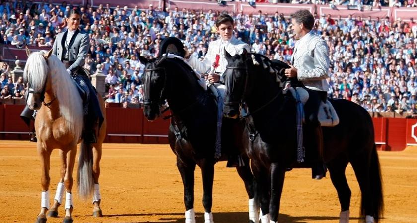 QUEDADO AP II, testigo de excepción en la alternativa de Guillermo Hermoso de Mendoza en la Real Maestranza de Sevilla. Montado por la rejoneadora Lea Vicens.